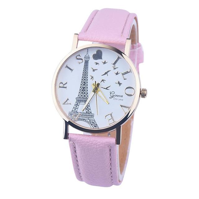 2018 New Arrival Hot Sale Paris Eiffel Tower Women Lady Girl Faux Leather Quartz Wrist Watch Relogio Feminino Relojes Mujer Gift
