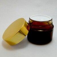 1 PC 100 ml Ambre Verre Maquillage Crème Pot Récipient D'emballage Or En Aluminium Couvercle En Plastique Nouveau (AY200AB (100) Shinny Or)