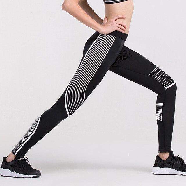2016 Hot Sale Sexy Black Striped Leggings Fitness Elastic Casual Women Leggings Bodybuilding Quick Dry Leggins