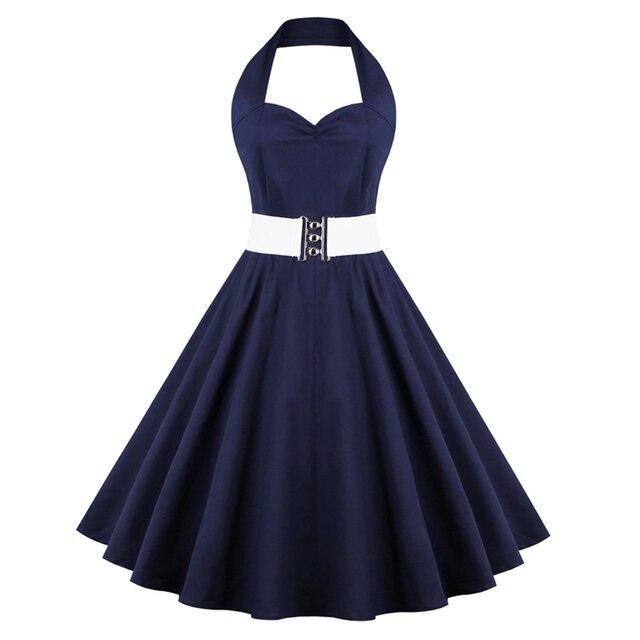 Frauen Robe Sexy V ausschnitt Marineblau Kleid Vintage 1940 s 50 s ...