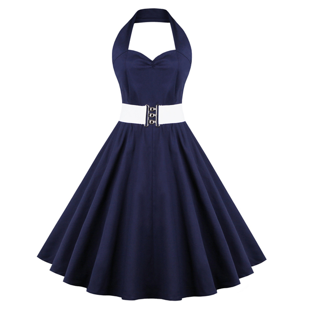 Womens Robe Sexy V Neck Navy Blue Dress Vintage 1940s 50s Style Pin up Rockabilly Swing Party