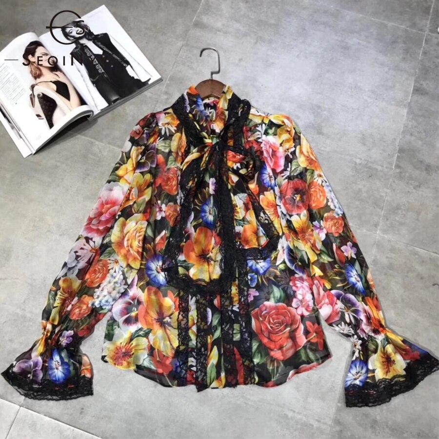 86ff03c878 Translúcido Moda Blusa 2019 Flores Manga Nueva Primavera Estampada Camisa  Arco De Plisado Verano Larga Empalmado ...