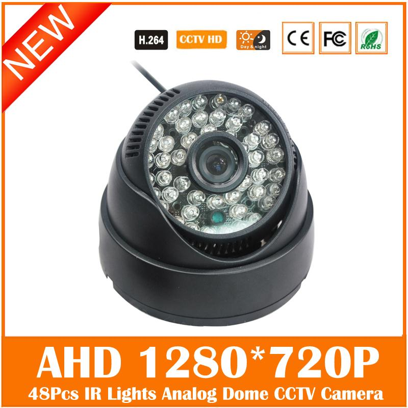 Ahd 720p Cmos Dome Camera 48pcs Infrared Lights Home Security Surveillance Cctv Cam Night Vision Freeshipping Hot Sale Special cmos 800tvl bullet camera infrared light night vision cctv outdoor surveillance security plastic mini webcam freeshipping