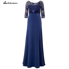 Navy Blue Chiffon Mother Of The Bride Dress