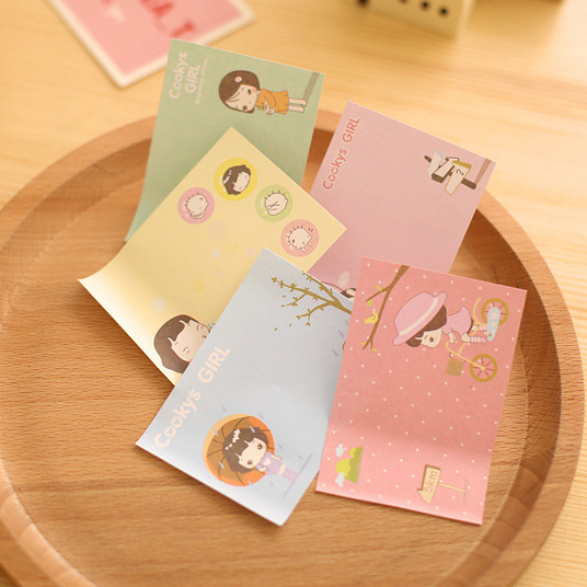 1 Pcs Cute Kawaii Diary Stickers Girl 30 Sheets Sticky Notes Post It Memo Pad Japanese