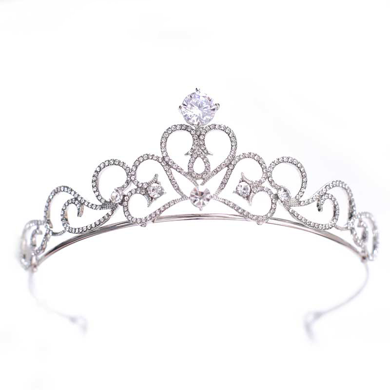 Cubic Zirconia Tiara and Crowns for Brides Hearts Tiara Bridal Hair Accessories Women Girls Jewelry Kids Crown Children Hairband
