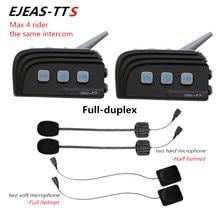 2PCS 1000M Dual Bluetooth 4 Riders Same Time Talking Motorcycle Helmet BT Intercom Headset Kit Moto Interphone Intercomunicador