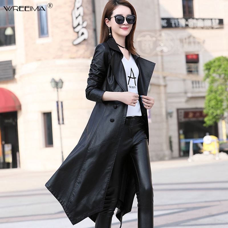 Plus size M-3XL 2018 Long Casual Single Breasted   Leather   Coat Coat Female Autumn High Quality Slim Women   Leather   Jacket Black