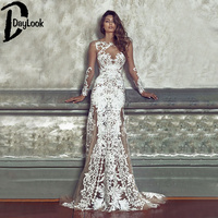 DayLook Fashion Sexy Lace Maxi Dress For Women See-through Crochet Hollow Out Stylish Party White Dress Long  Night Club Vestido