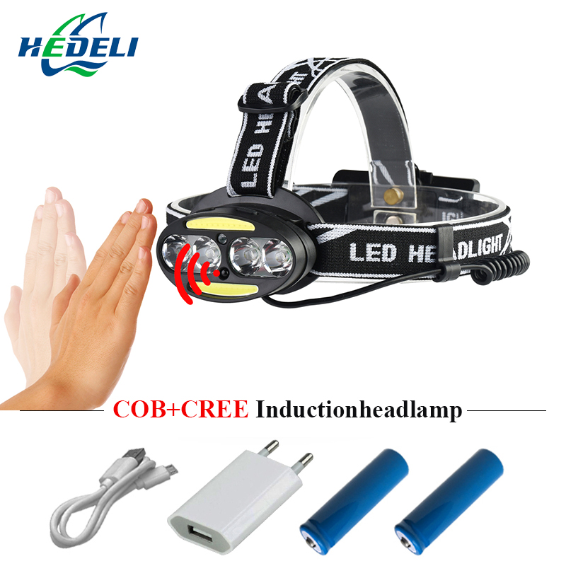 5000 lm Mini <font><b>LED</b></font> Lighting Headlight Body Motion Sensor Bike Charging headlamp USB Charging Outdoor Camping Flashlight 18650