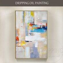 عرض ساخن لوحة فنية مرسومة باليد قماش منقوش بنقوش تجريدية عالي الجودة لوحة زيتية على قماش يدوي ألوان فاتحة جميلة 2 طقم لوحة زيتية
