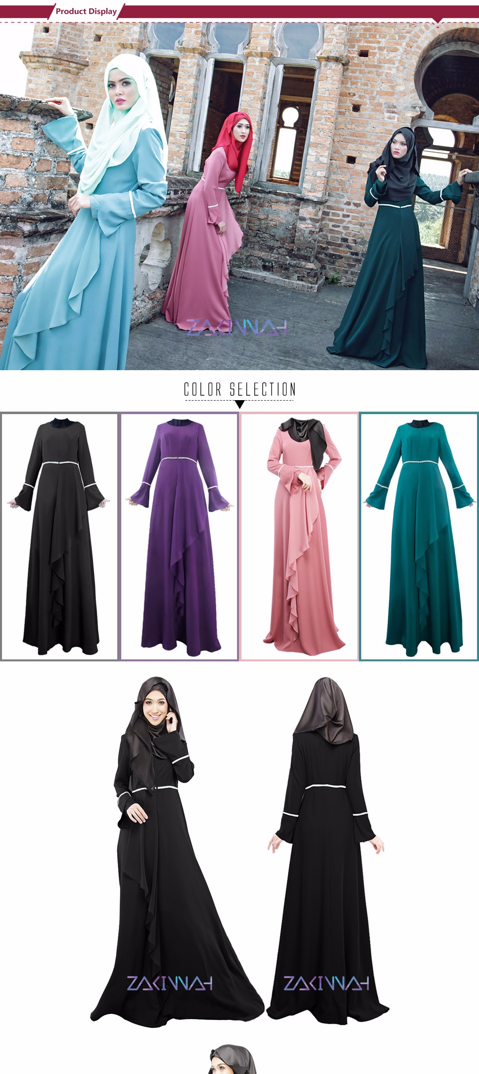 women plain color muslim hijab falbala design