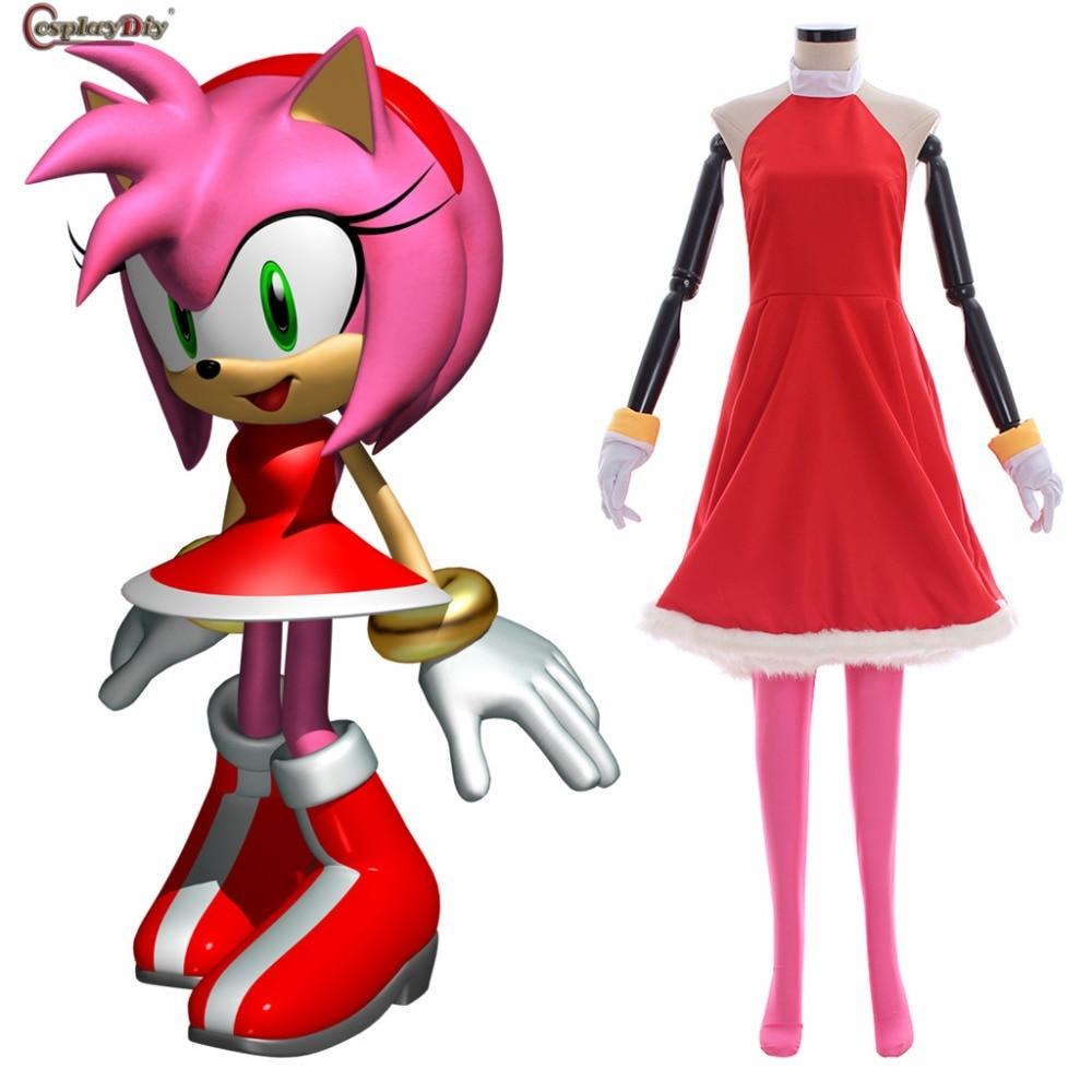Anime Sonic le hérisson Amy Rose Rose Rose le coquin Cosplay femmes fille robe Rose avec des gants Costume Halloween carnaval vêtements
