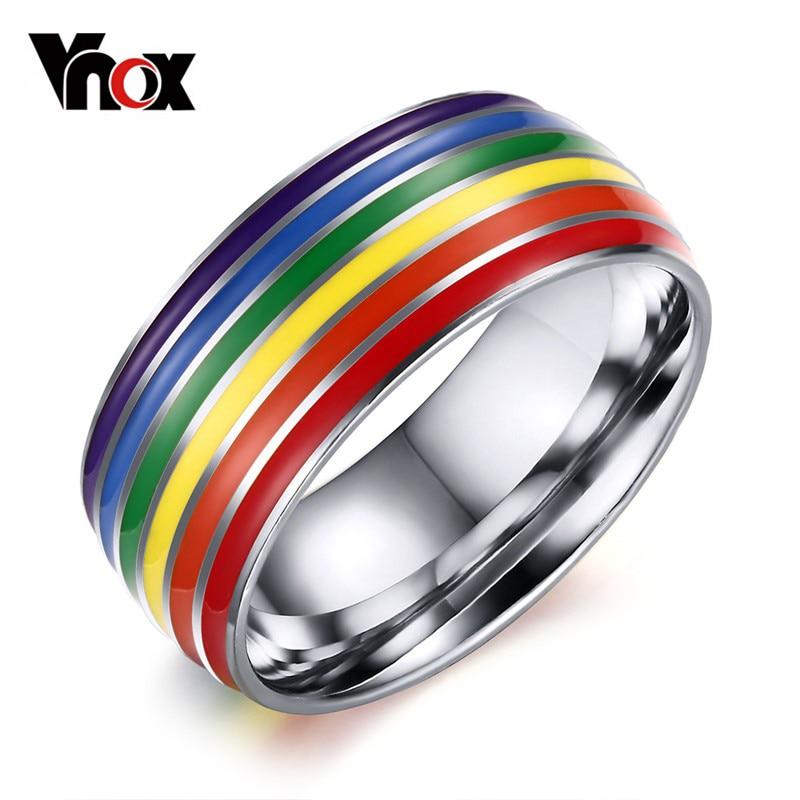 vnox gay pride wedding rings for women and men jewelry stainless steel engagement rings 8mm - Gay Mens Wedding Rings