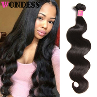 Wondess Only 1 Piece Indian Body Wave Virgin Hair Bundles Natural Color Raw Hair Weaves 8 30inch Human Hair Can Buy 3 or 4 PCS