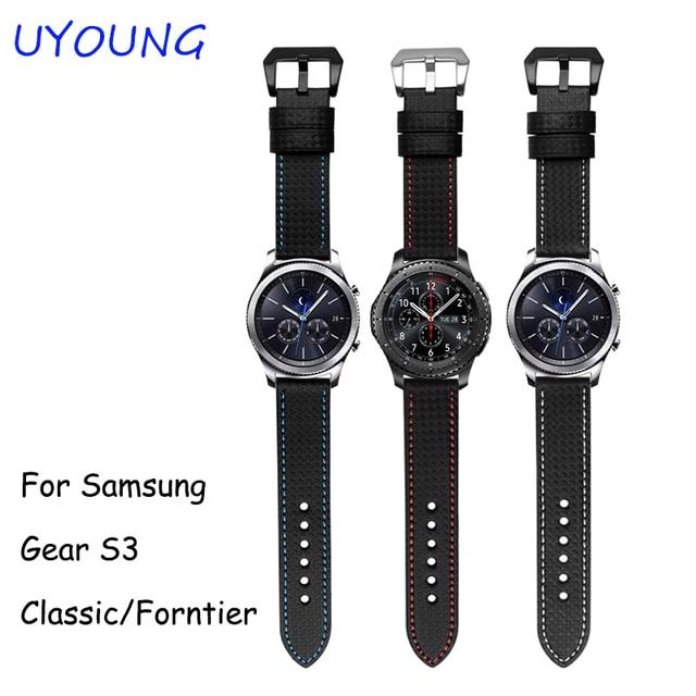 Для Samsung Gear S3 Классический/Forntier Ремешки Для Наручных Часов 22 мм Углеродного волокна скороговоркой Ремень Черный Браслет С Тонкой Стальной Пряжкой