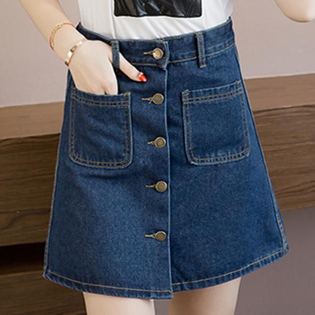 Saia de Cintura alta Marca 2016 Mulheres Primavera verão A-line Curto Saia jeans Feminina Saia Busto Saias Slim Hip Plus Size Grande bolso