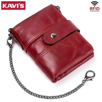 Rfid 100% Genuine Leather Women Wallet Female Coin Purse 6