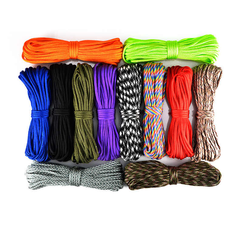 15m Paracord 550 Parachute Cord Lanyard Tent Rope Hiking Camping Paracord 4mm Survival Bracelet Rope Outdoor Tool