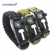 Braided Bracelets Multi-function Men Women Paracord Outdoor Camping Rescue Rope Survival Bracelet Compass Whistle Buckle 4 in 1 emak survival watch outdoor camping medical multi functional compass thermometer rescue paracord bracelet equipment tools kit