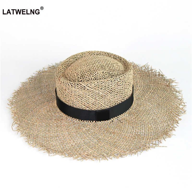 Hurtownie kobiety morze słomkowy kapelusz przeciwsłoneczny z czarnym paskiem modne z dziurami na lato kapelusze plażowe oddychające szerokie rondo kapelusz UV z kokardą