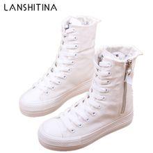 1be890d16 2018 nova primavera outono plataforma high top sapatas de lona da menina  das mulheres zíper da moda casual sapatos femininos sap.