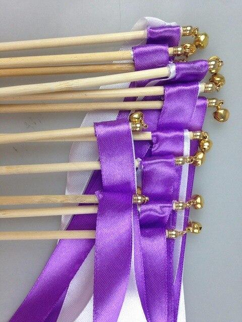 Luxury 20pcslot Purple And White Wedding Wands Ribbon Lace Fairy