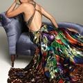 Glamour Tela de la Impresión vestidos de fiesta Plisado Blusa Mano Abalorios de Cristal V cuello alto bajo vestido largo ja121007