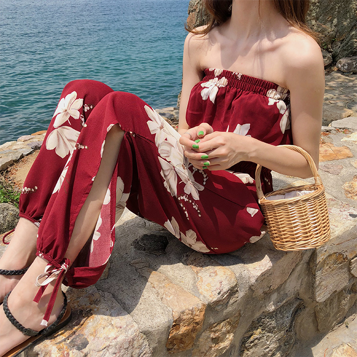 2019 Summer Floral Print Strapless Soft Women Rompers High Waist Side Slit Stretchy Cuff Women Casual Beach Jumpsuits 12