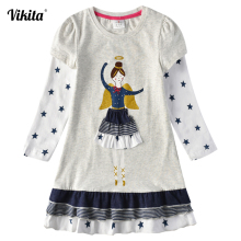 VIKITA Girls Cotton Dress Long Sleeve Children Autumn Winter Princess Vestidos Kids Dresses for Girls Clothes Little Girl Dress недорого