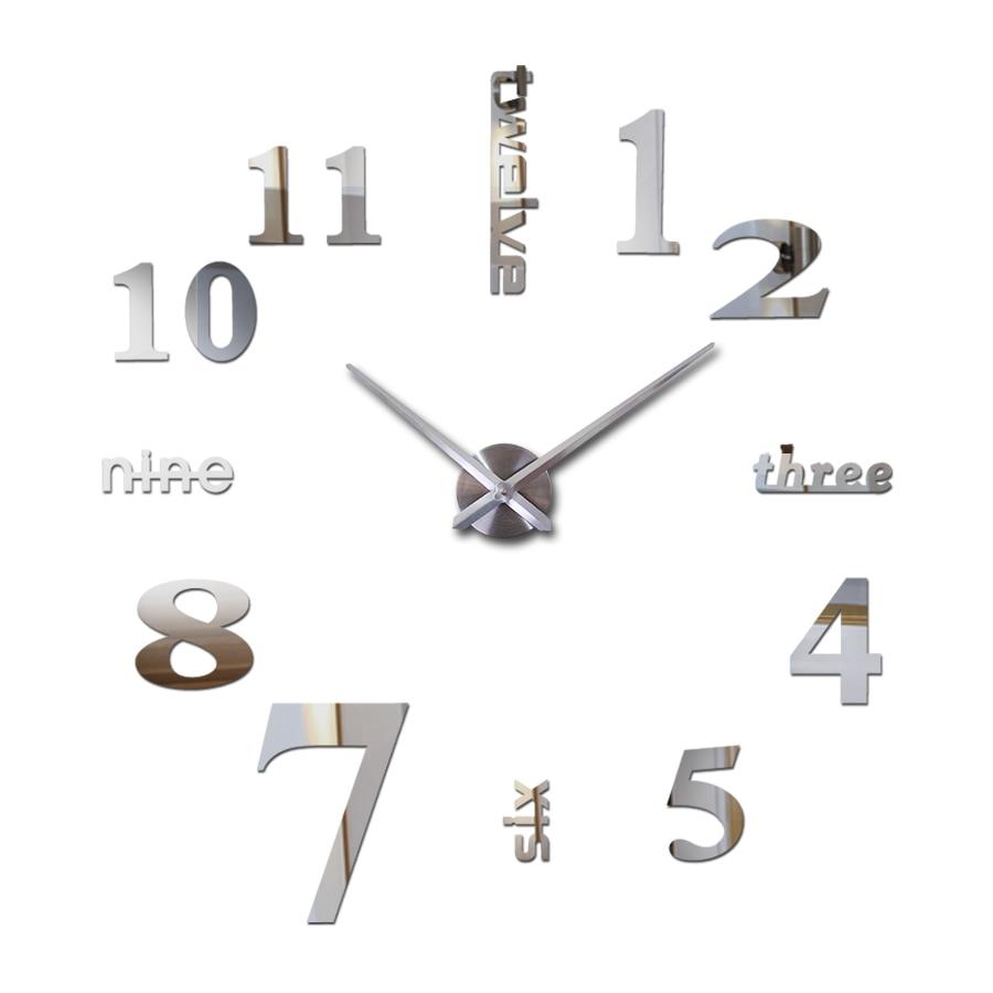 new wall clock watch clocks reloj de pared home decoration wall clcoks 3d acrylic special sticker Living Room Needle