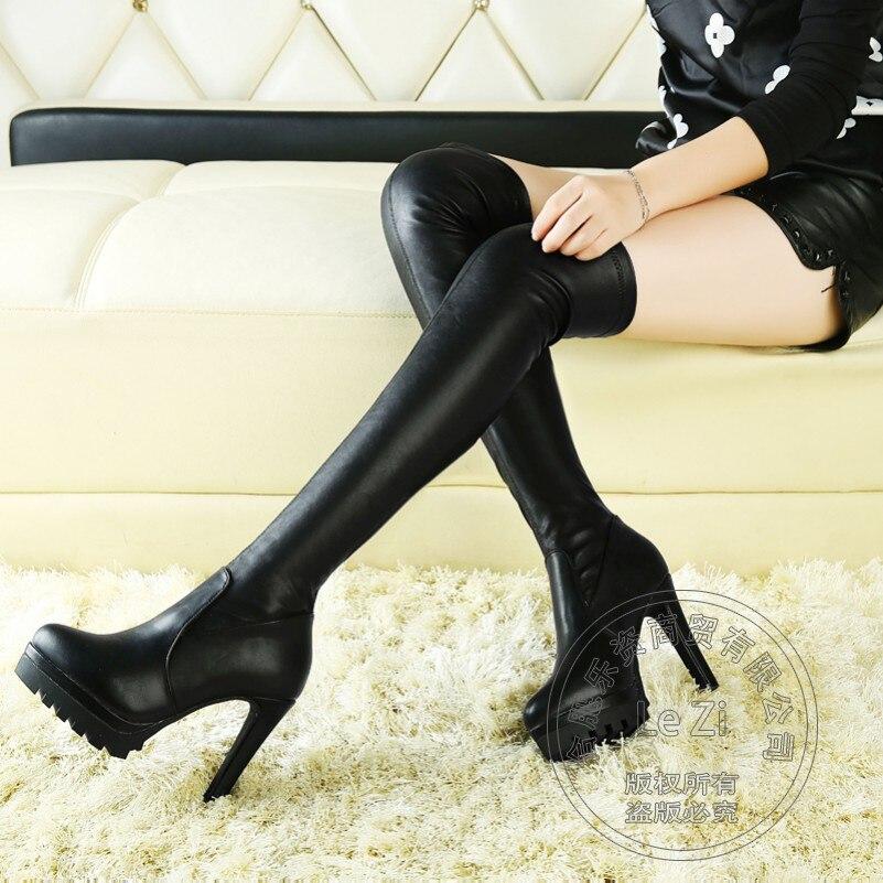 ФОТО Wholesale Double Platform Super High Heel Over The Knee Fashion Genuine Biker Shoes Woman Slim Boots Leather Stockings Elastic