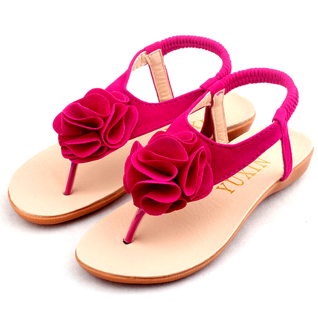 aa4671f0ff Niñas Sandalias Romanas de Cuero PU De Los Niños Zapatos de Playa 2016  Verano Para Niños