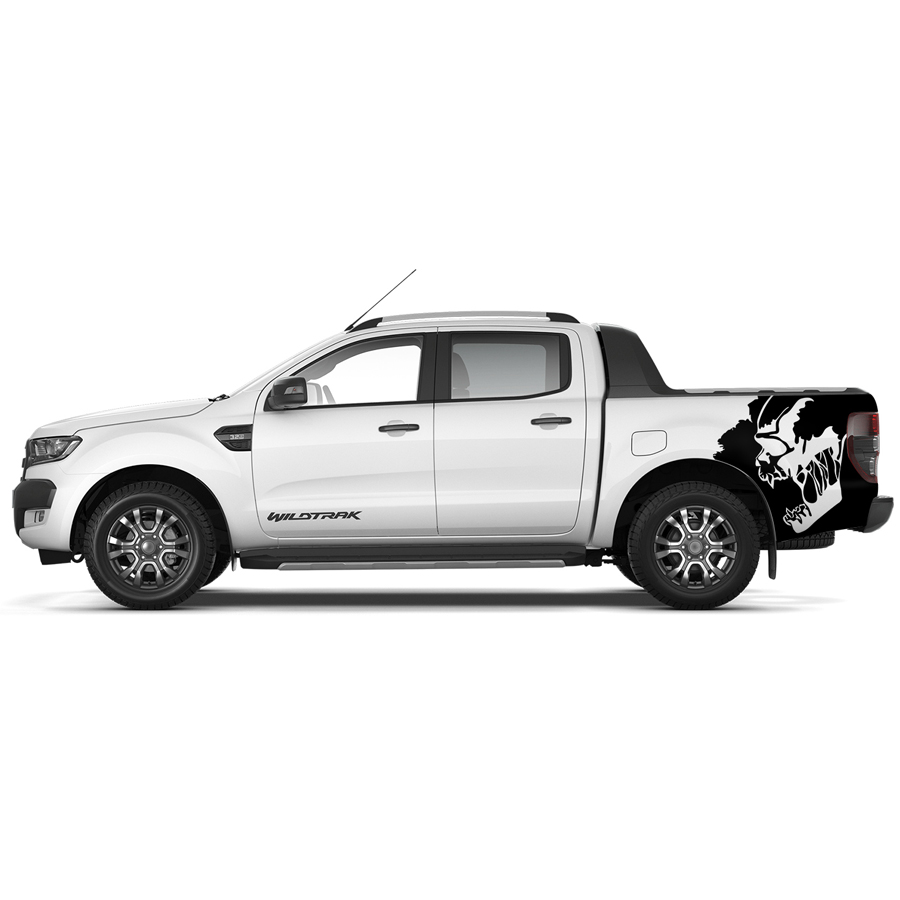 free shipping screaming skull rear box bed side graphic vinyl car styling sticker for Ford ranger 2012-2017 accessories 4pc mudslinger body rear tail side graphic vinyl decals for ford ranger 2012 2013 2014 2015 2016 sticker