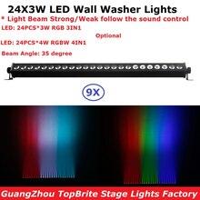 hot deal buy  9pcs/lot cheap price 24x3w indoor led wall washer light rgbw or rgb optional led bar lights dmx mode,led stage light 110-240v