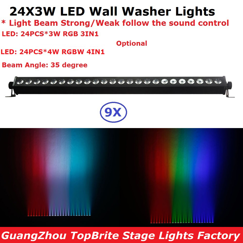 9Pcs/Lot Cheap Price 24X3W Indoor Led Wall Washer Light RGBW Or RGB Optional Led Bar Lights DMX Mode,Led Stage Light 110-240V