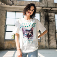 Moda Jihan New Women T Shirts Cotton Short Sleeve T Shirts Ladies Chic Printed Cat Letters Black Casual Tops Street Style Tees