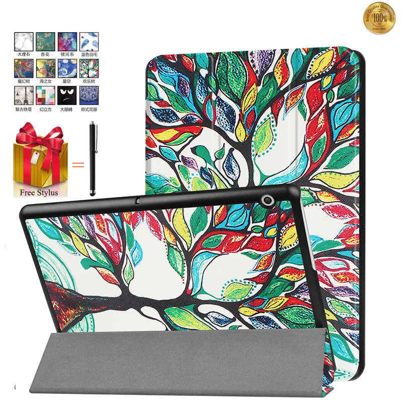 Capa For HUAWEI MediaPad T3 10 9.6'' Slim Stand Flip Leather Capa For Huawei T3 10 Tablet Cover Print Fundas+Stylus