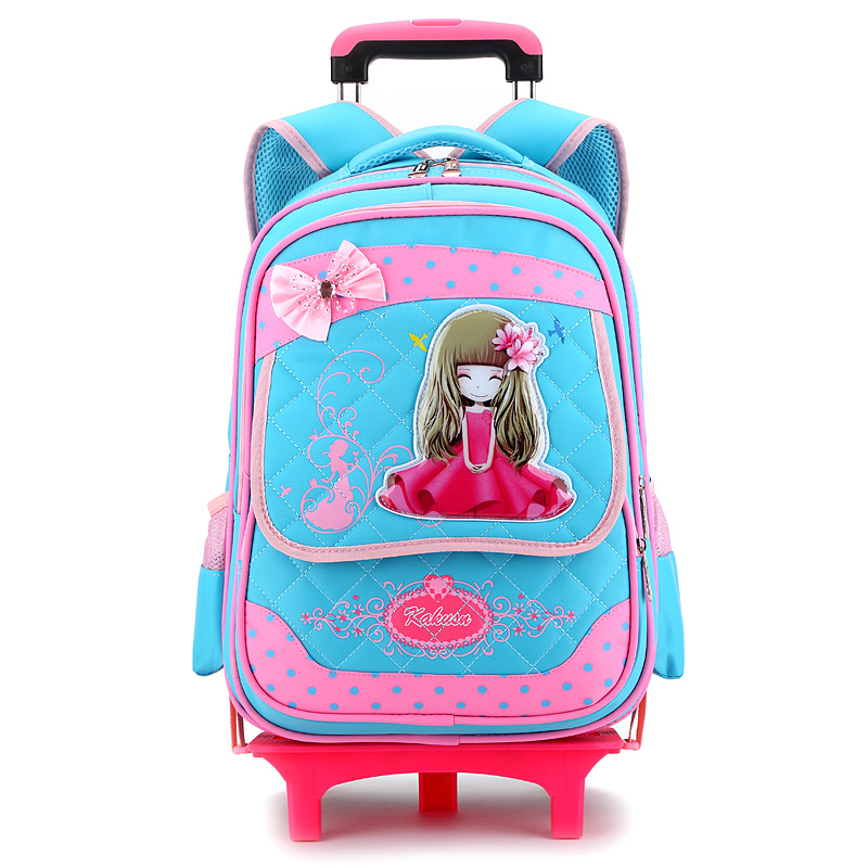 2 Wheels high quality girls trolley backpack schoolbag orthopedic bags for children trolley school bag Boys Backpack Shoulders 2016 high quality orthopedic camouflage school bag for boys girls red children waterproof backpack burden school book bags