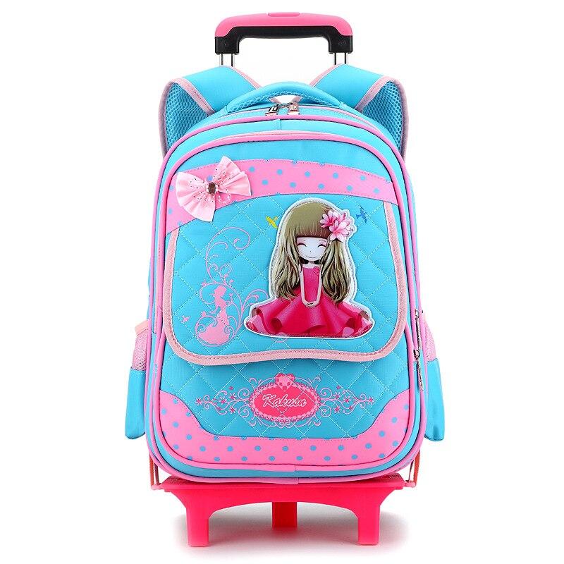 2 roues de haute qualité filles chariot sac à dos cartable sacs orthopédiques pour enfants chariot cartable garçons sac à dos épaules