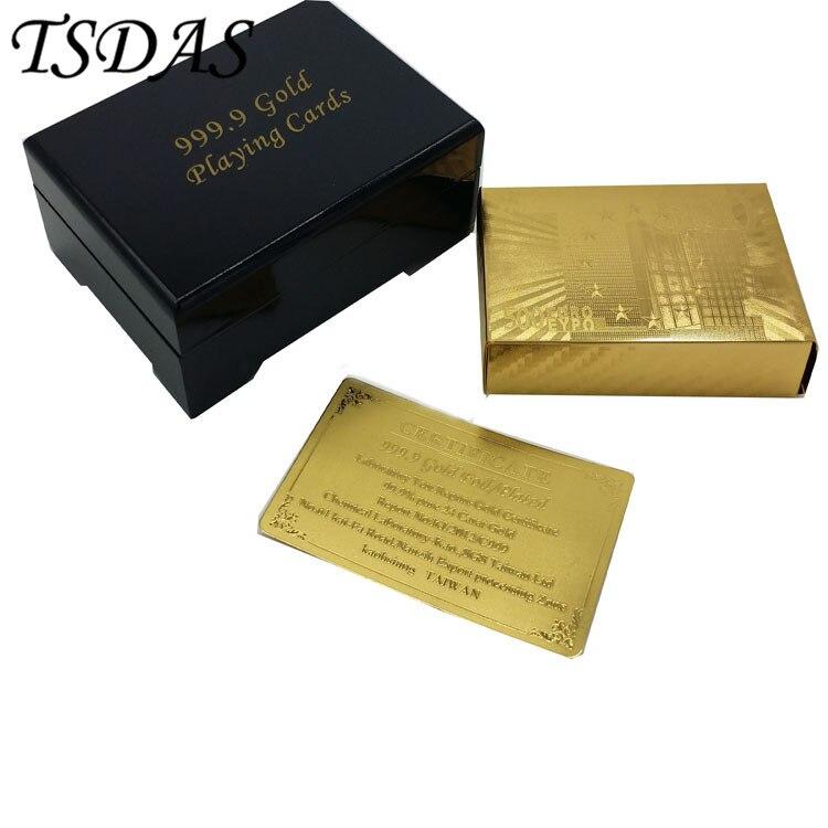 Pozlacené hrací karty 500 Euro Bankovka Design Full Poker paluby s dřevěnými Box hry Nádherné dárky