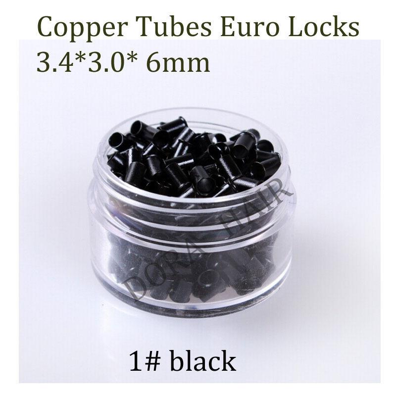 1000pcs 3.4mm Long Copper Flared Flaring Micro Rings Tube Euro Locks for feather human hair extensions tools accessories