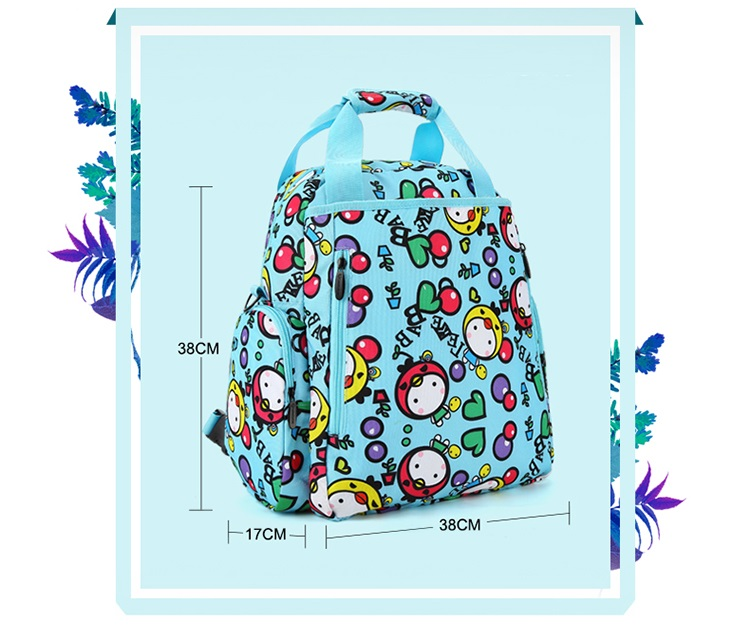 Lekebaby Diaper Bag Multi-functional Mommy Maternity Backpack Cute Cartoon Pattern Nappy Tote Bag For Travelling Stroller Bag