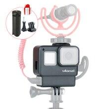 ULANZI V2 para Gopro Cámara jaula caja marco para Gopro 7 6 5, Cámara de Acción Vlog accesorios con zapata caliente para micrófono con luz