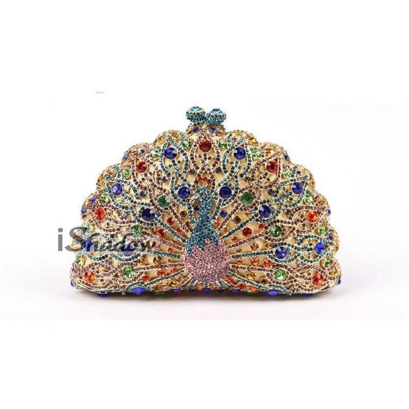 ФОТО 8105F Multi-color Crystal Peacock Animal Bird Wedding Bridal Party hollow Metal Evening purse clutch bag handbag case box