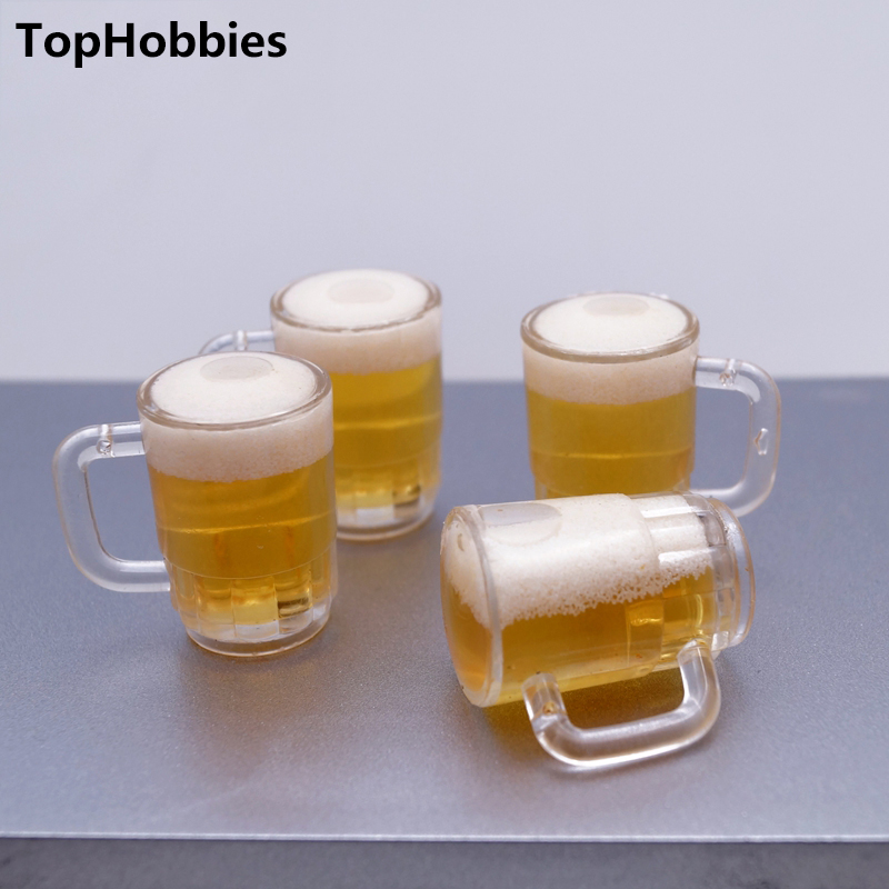 6PCS 1:6 Dollhouse Miniature Drink Of Beer Cup/Mug/Glasses Model Liquid Can Flow For 12 Inch Military Figures Accessories Toy