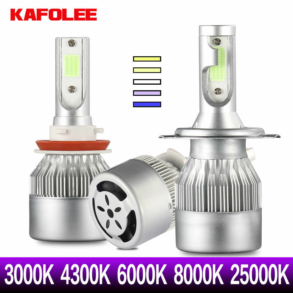 Car Headlight Bulbs 2x HB3 HB4 HB4 HIR2 LED 9005 H1 H3 9012 H8 H9 H10 H11 9008 H7 3000K 4300K 25000K COB chip 12V 24V