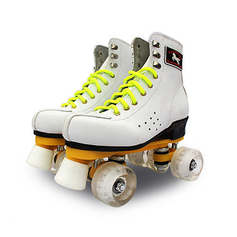 Roller Skates Double Line Skates With LED Lighting Wheels White Unsex Models Adult 4 Wheels Two line Roller Skating Shoes japy roller skates geniune leather double line skate pink men women adult pink pu 4 wheels two line skating shoes patines c004