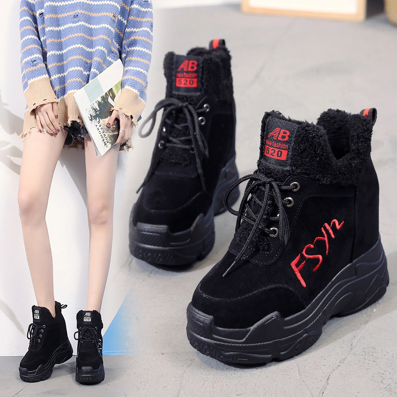 Spring Autumn Ankle Boots Women Platform Boots Rubber Sole Buckle Black Suede Increase Within High Heels Shoes Woman Comfortable
