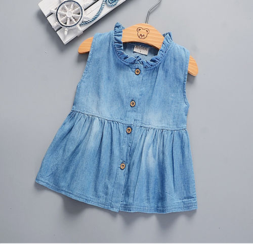 Denim Baby Girl Princess Dress Kid Baby Party Wedding Pageant Dresses girls Clothes